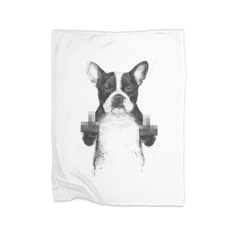 Censored dog Home Fleece Blanket Blanket by Balazs Solti