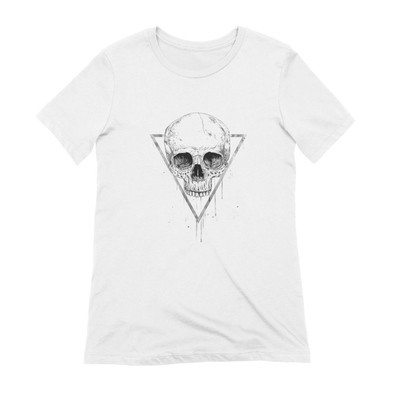 Skull in a triangle (bw) Women's Extra Soft T-Shirt by Balazs Solti