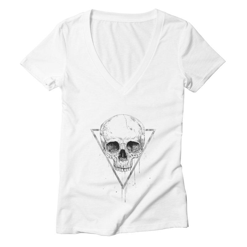 Skull in a triangle (bw) Women's Deep V-Neck V-Neck by Balazs Solti