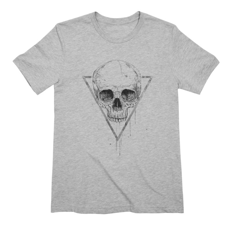 Skull in a triangle (bw) Men's Extra Soft T-Shirt by Balazs Solti