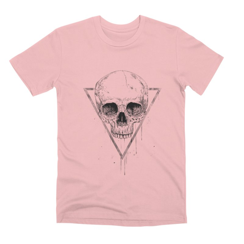 Skull in a triangle (bw) Men's Premium T-Shirt by Balazs Solti