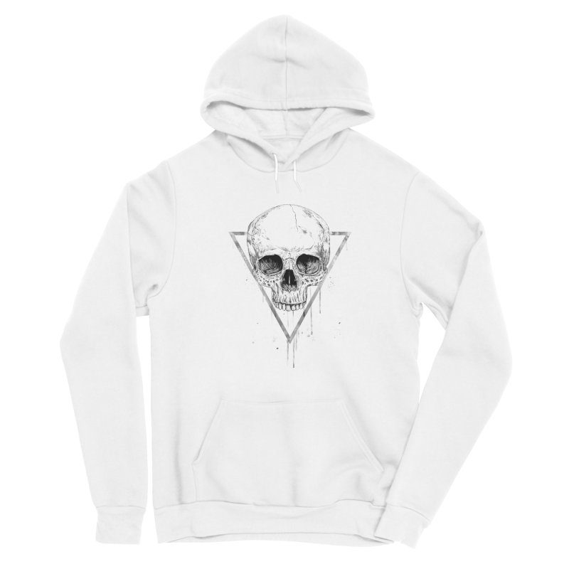 Skull in a triangle (bw) Women's Sponge Fleece Pullover Hoody by Balazs Solti