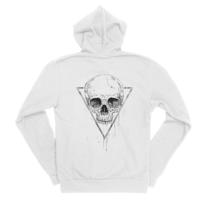 Skull in a triangle (bw) Men's Sponge Fleece Zip-Up Hoody by Balazs Solti