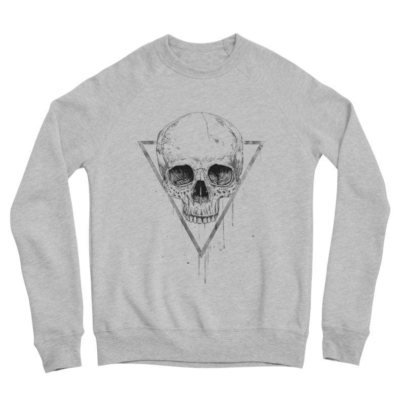 Skull in a triangle (bw) Women's Sponge Fleece Sweatshirt by Balazs Solti