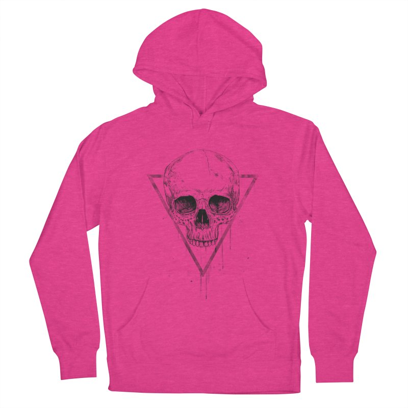Skull in a triangle (bw) Women's French Terry Pullover Hoody by Balazs Solti