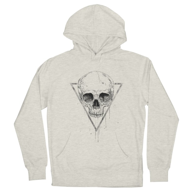 Skull in a triangle (bw) Men's French Terry Pullover Hoody by Balazs Solti