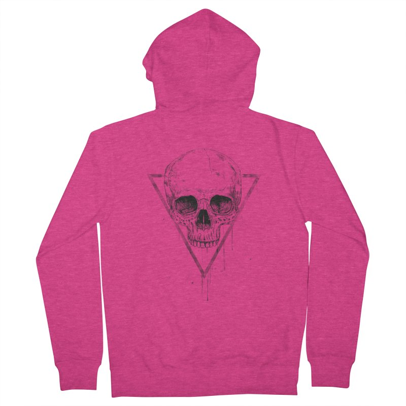 Skull in a triangle (bw) Women's French Terry Zip-Up Hoody by Balazs Solti