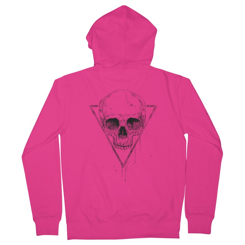 Skull in a triangle (bw) Men's French Terry Zip-Up Hoody by Balazs Solti