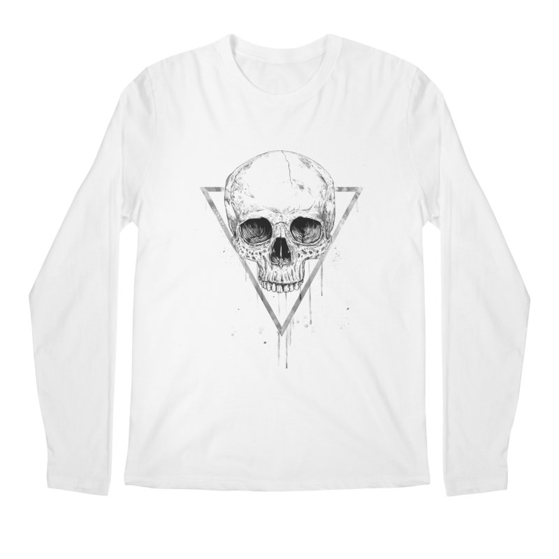 Skull in a triangle (bw) Men's Regular Longsleeve T-Shirt by Balazs Solti