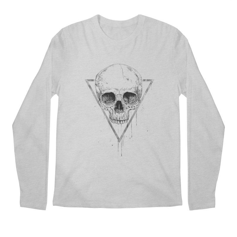 Skull in a triangle (bw) Men's Regular Longsleeve T-Shirt by Balazs Solti