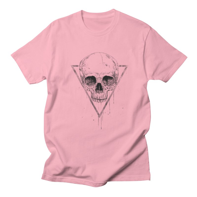 Skull in a triangle (bw) Men's Regular T-Shirt by Balazs Solti