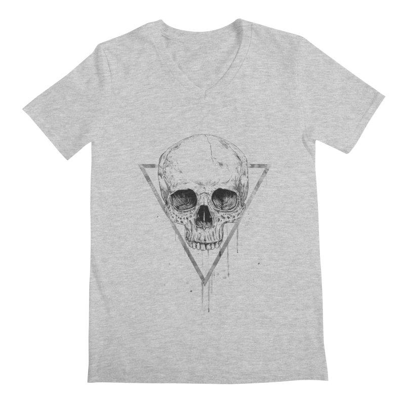 Skull in a triangle (bw) Men's Regular V-Neck by Balazs Solti
