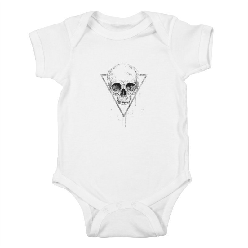 Skull in a triangle (bw) Kids Baby Bodysuit by Balazs Solti