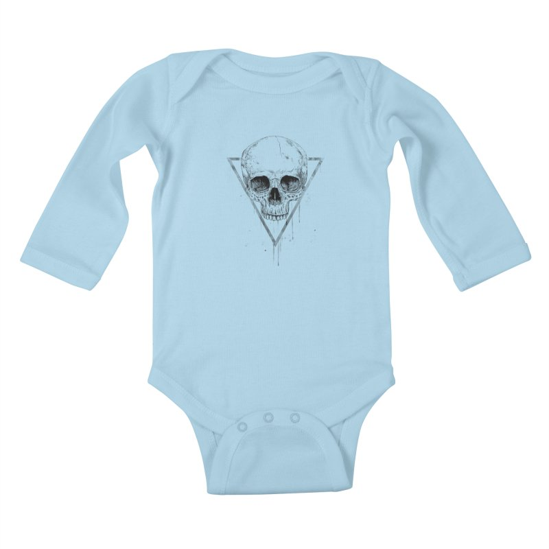 Skull in a triangle (bw) Kids Baby Longsleeve Bodysuit by Balazs Solti
