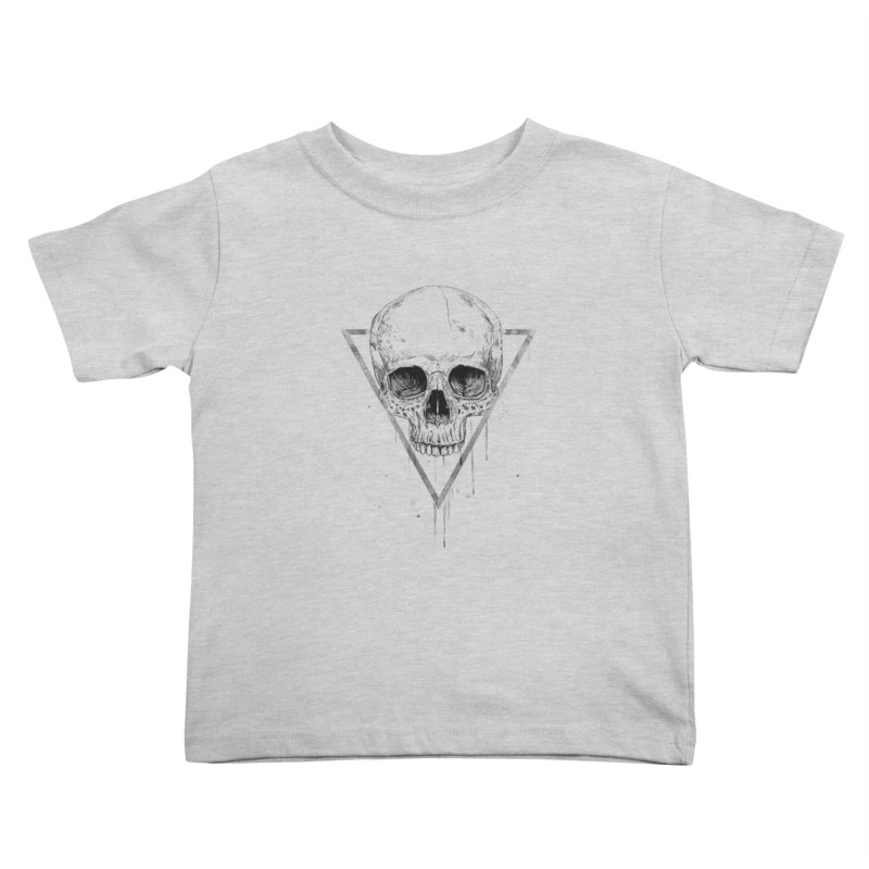 Skull in a triangle (bw) Kids Toddler T-Shirt by Balazs Solti