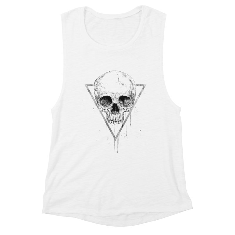 Skull in a triangle (bw) Women's Muscle Tank by Balazs Solti