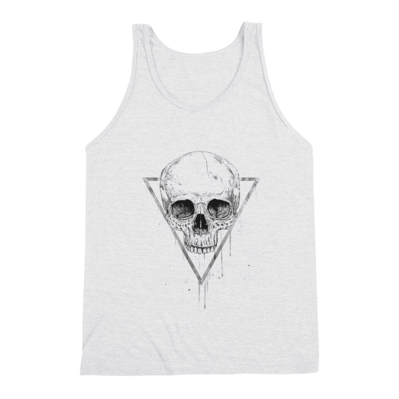 Skull in a triangle (bw) Men's Triblend Tank by Balazs Solti