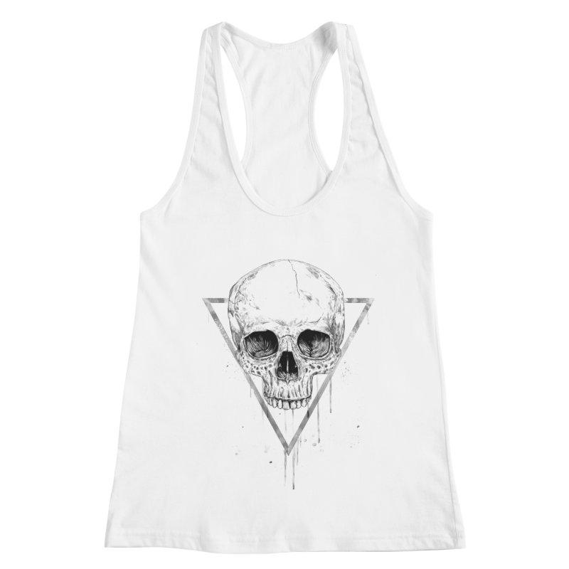 Skull in a triangle (bw) Women's Racerback Tank by Balazs Solti