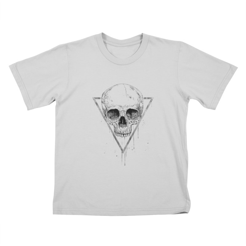 Skull in a triangle (bw) Kids T-Shirt by Balazs Solti