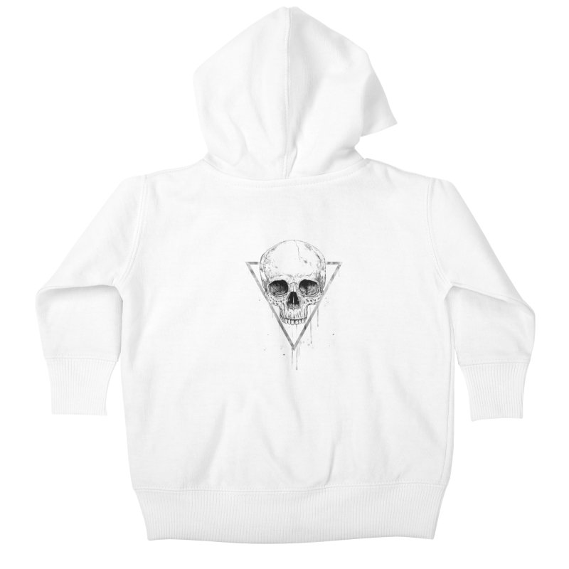 Skull in a triangle (bw) Kids Baby Zip-Up Hoody by Balazs Solti