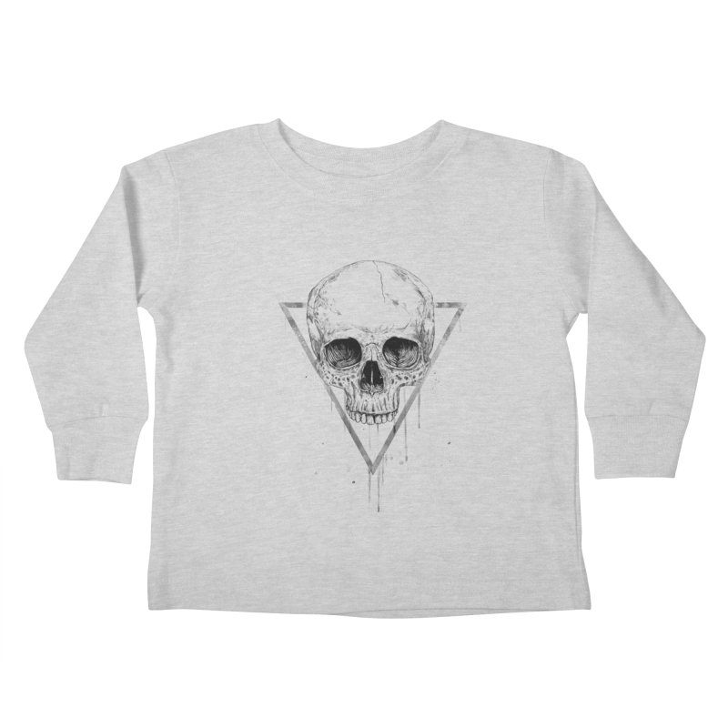 Skull in a triangle (bw) Kids Toddler Longsleeve T-Shirt by Balazs Solti