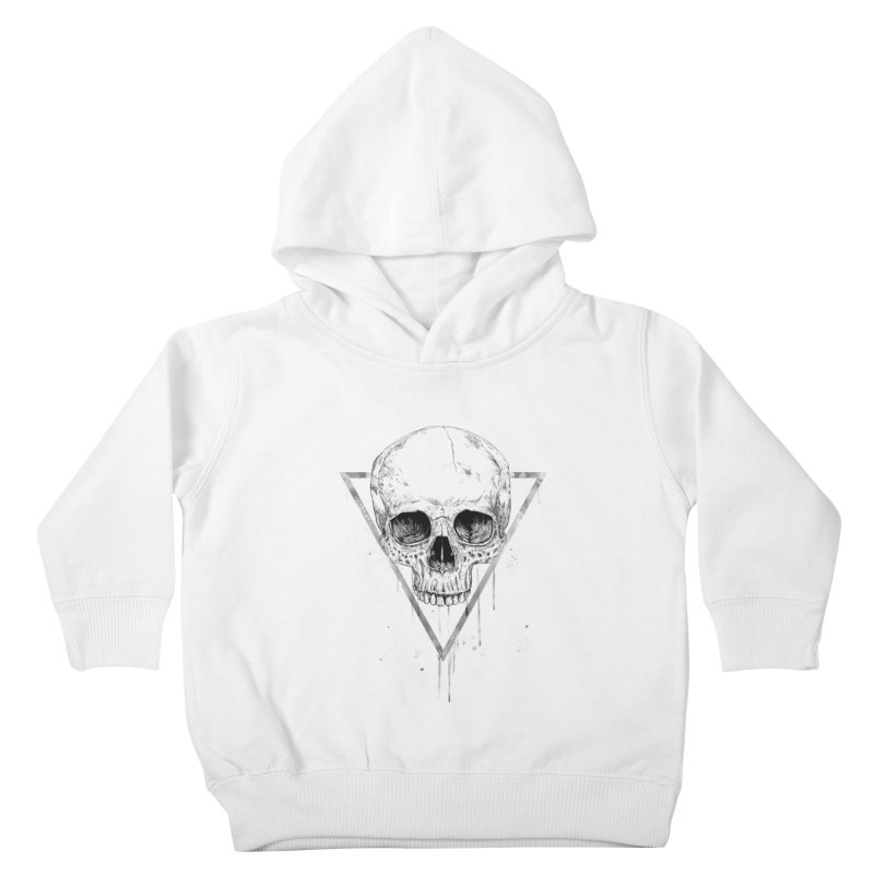 Skull in a triangle (bw) Kids Toddler Pullover Hoody by Balazs Solti