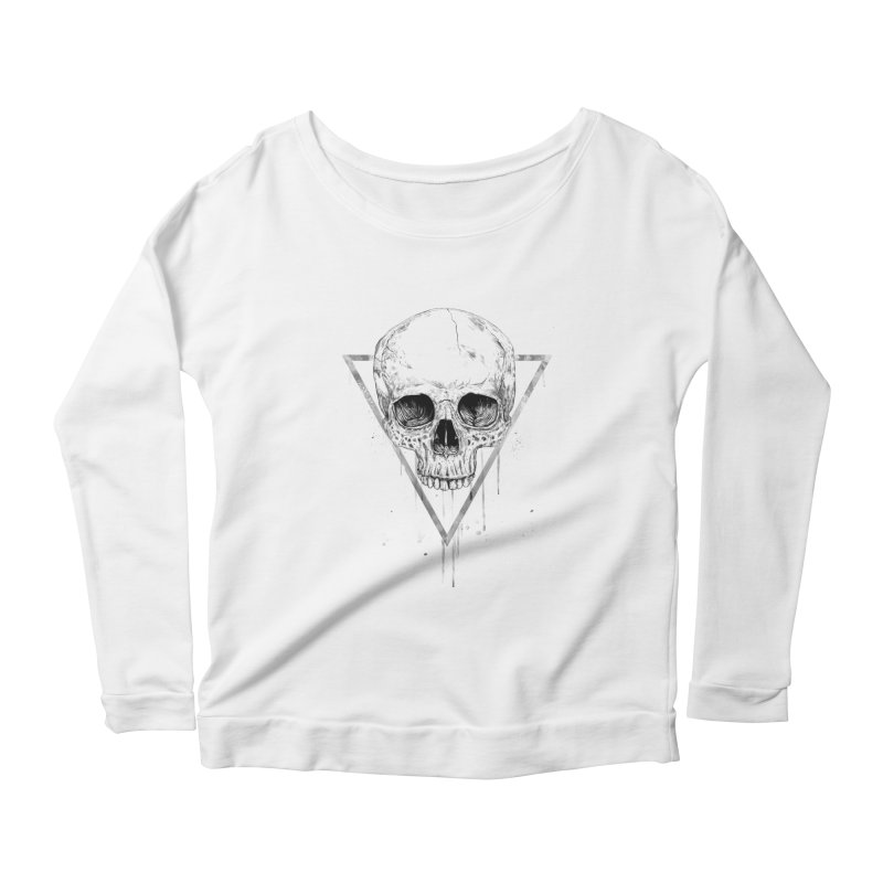 Skull in a triangle (bw) Women's Scoop Neck Longsleeve T-Shirt by Balazs Solti