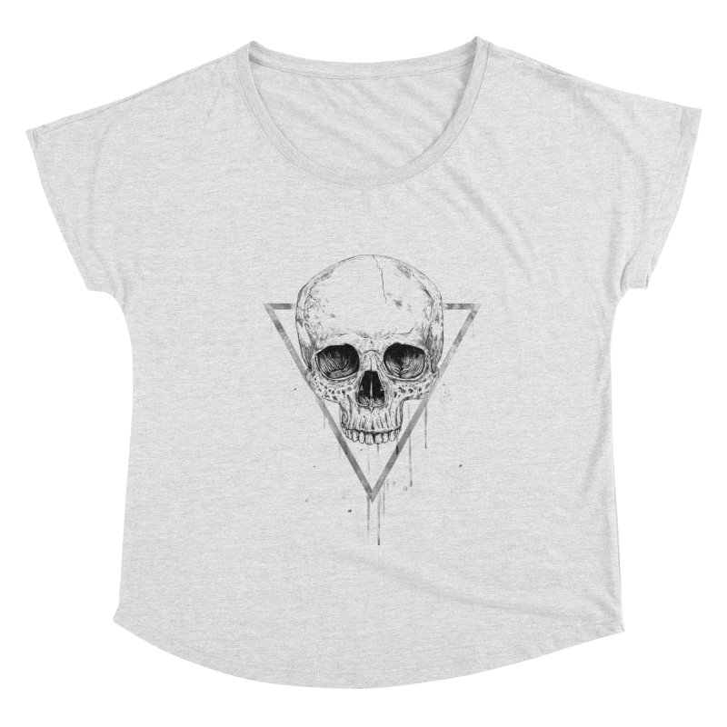 Skull in a triangle (bw) Women's Dolman Scoop Neck by Balazs Solti