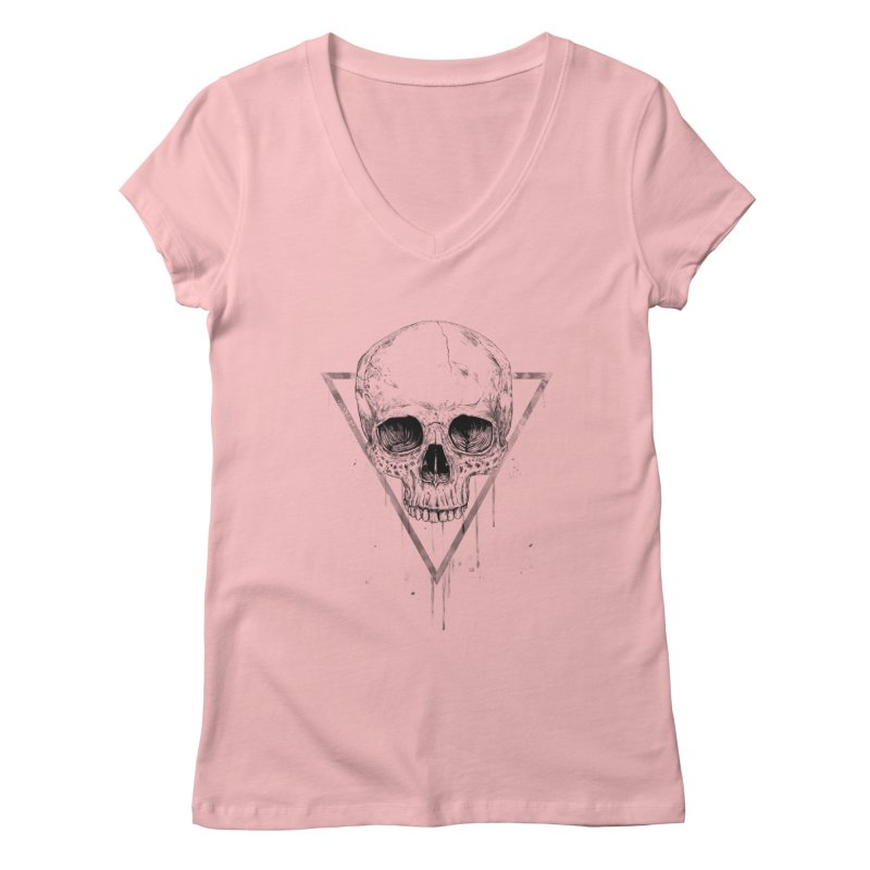 Skull in a triangle (bw) Women's Regular V-Neck by Balazs Solti