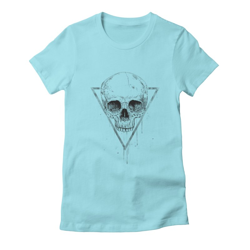 Skull in a triangle (bw) Women's Fitted T-Shirt by Balazs Solti