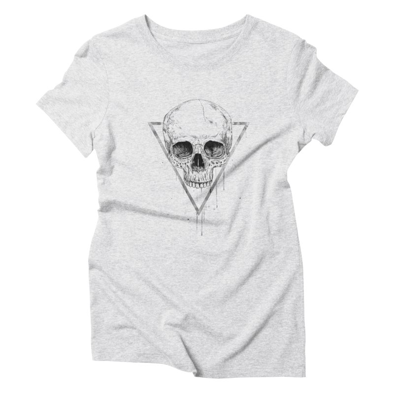 Skull in a triangle (bw) Women's Triblend T-Shirt by Balazs Solti