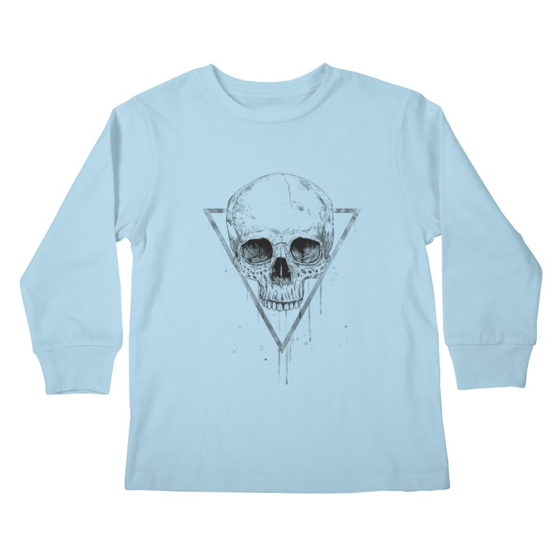 Skull in a triangle (bw) Kids Longsleeve T-Shirt by Balazs Solti