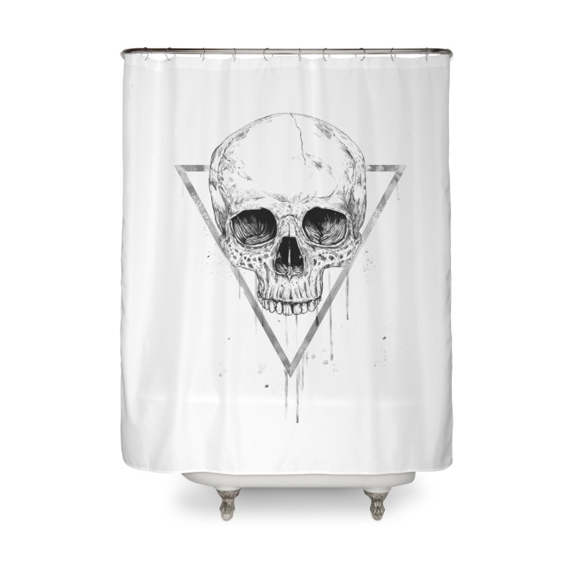 Skull in a triangle (bw) Home Shower Curtain by Balazs Solti