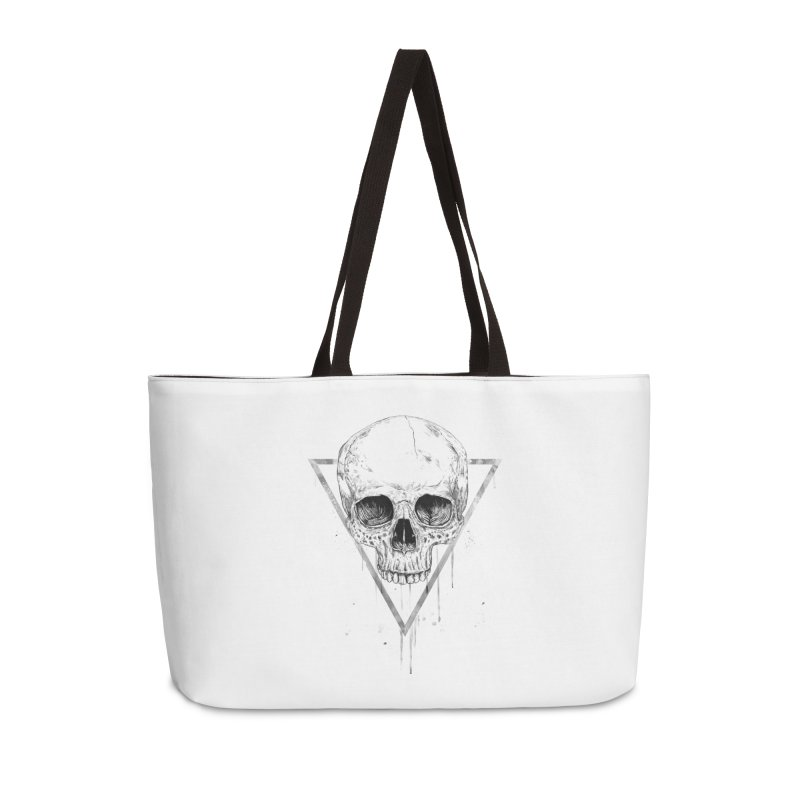 Skull in a triangle (bw) Accessories Weekender Bag Bag by Balazs Solti