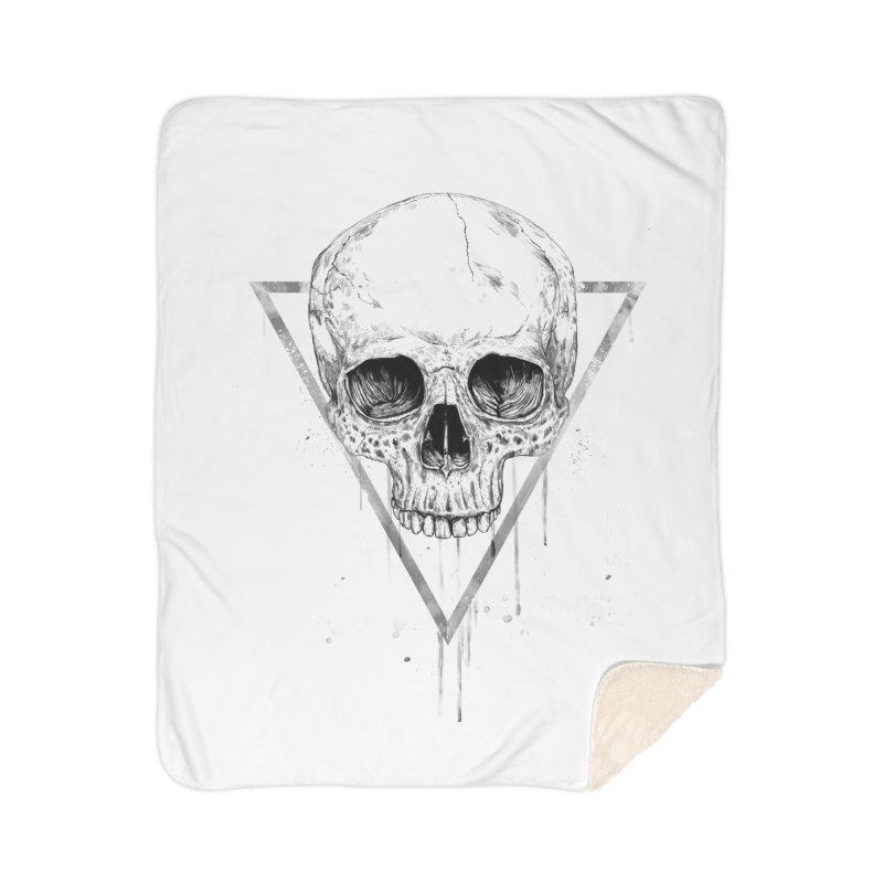 Skull in a triangle (bw) Home Sherpa Blanket Blanket by Balazs Solti