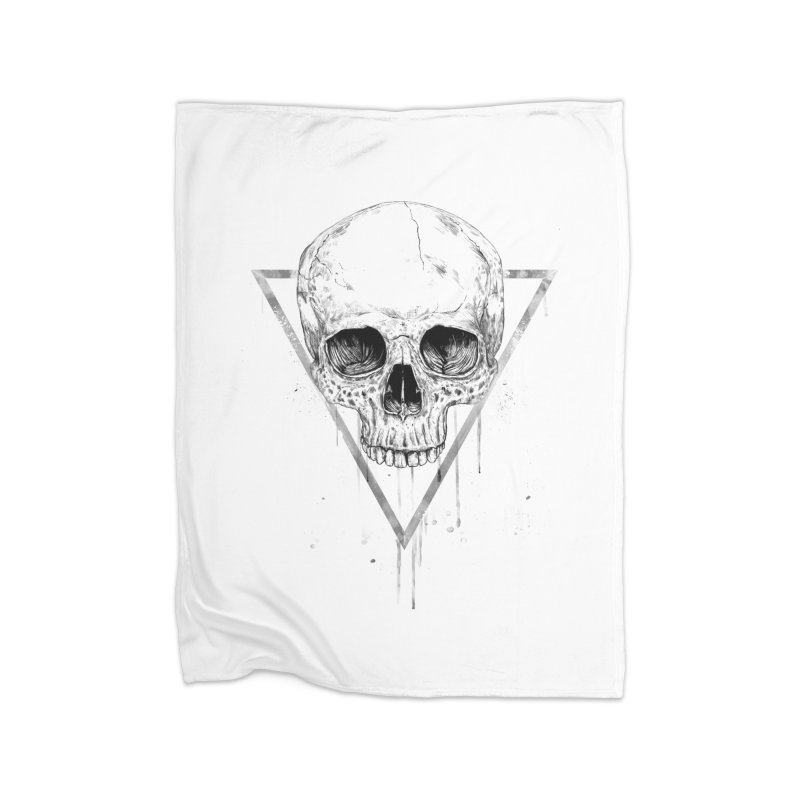 Skull in a triangle (bw) Home Fleece Blanket Blanket by Balazs Solti