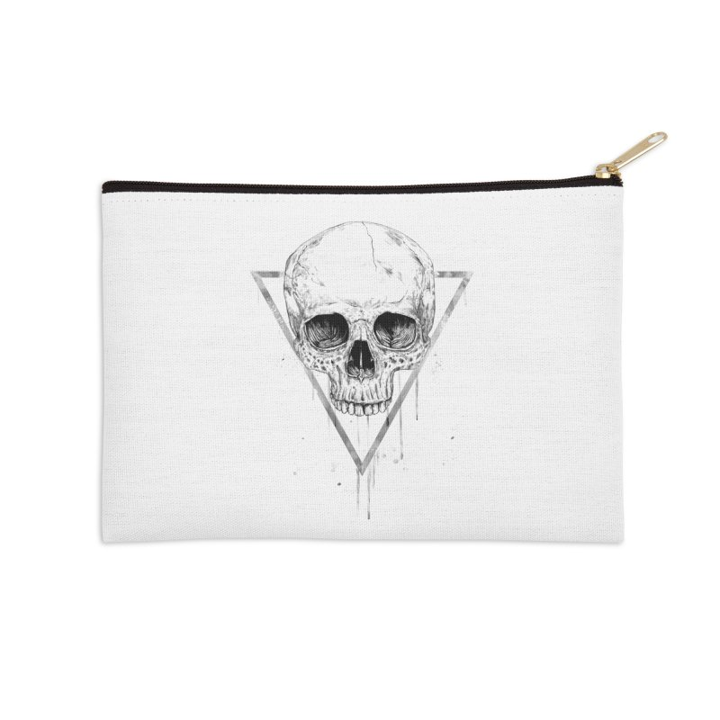 Skull in a triangle (bw) Accessories Zip Pouch by Balazs Solti