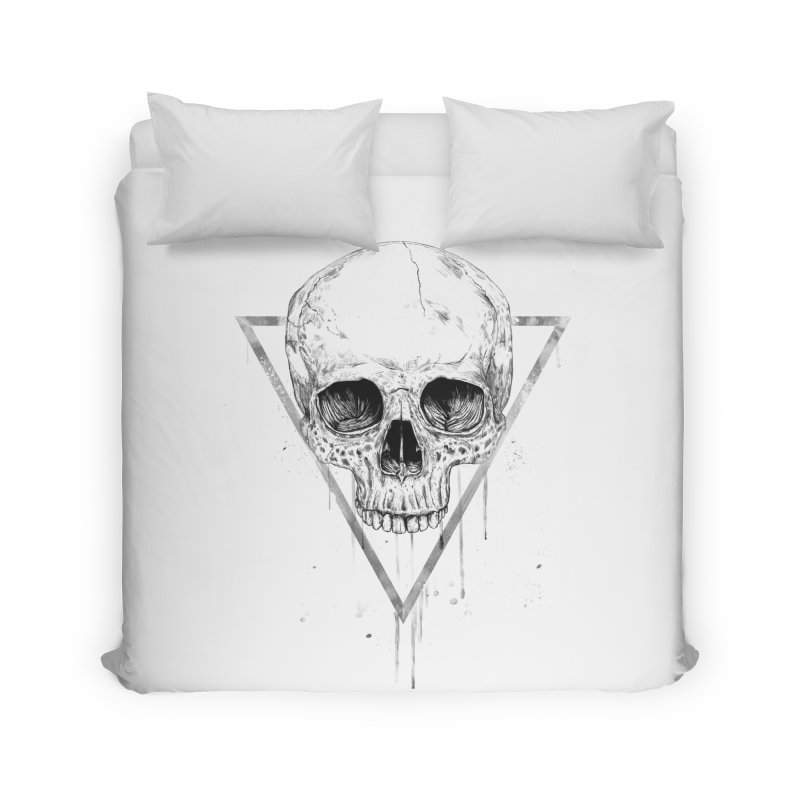 Skull in a triangle (bw) Home Duvet by Balazs Solti