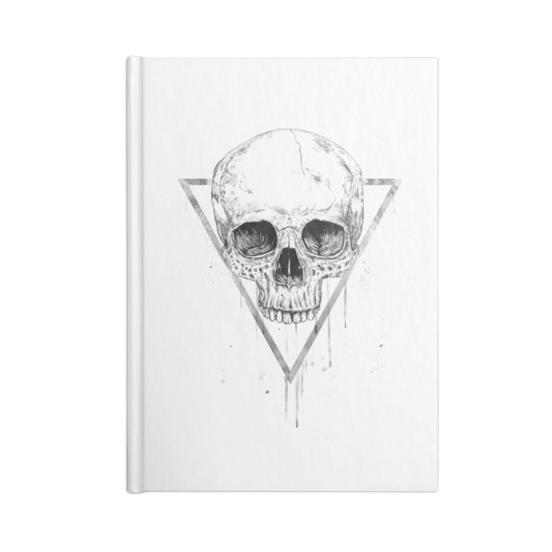 Skull in a triangle (bw) Accessories Lined Journal Notebook by Balazs Solti
