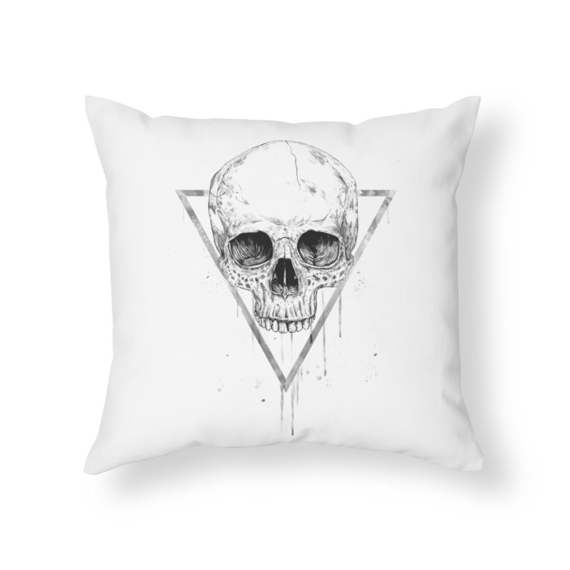 Skull in a triangle (bw) Home Throw Pillow by Balazs Solti