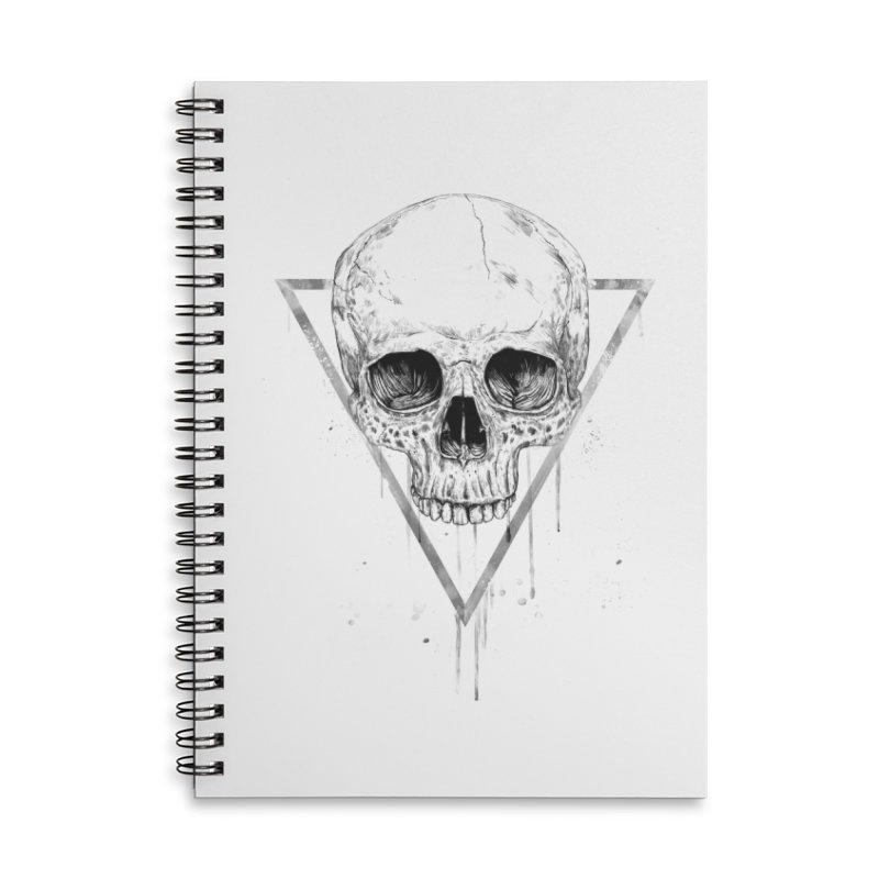 Skull in a triangle (bw) Accessories Lined Spiral Notebook by Balazs Solti