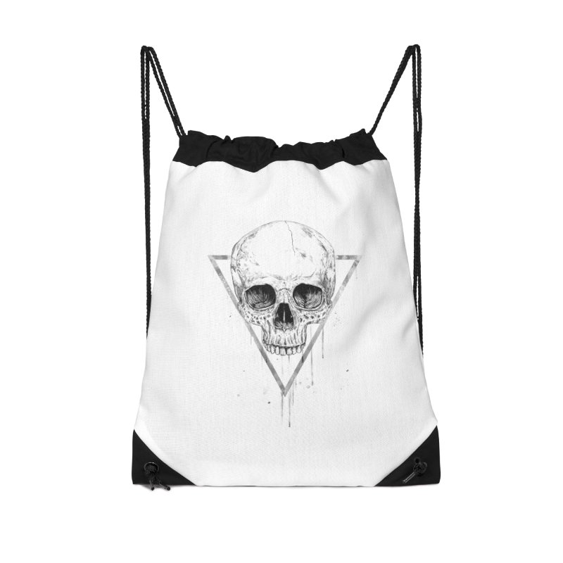 Skull in a triangle (bw) Accessories Drawstring Bag Bag by Balazs Solti