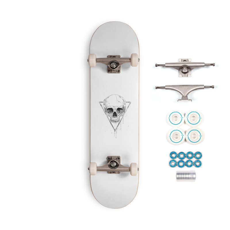 Skull in a triangle (bw) Accessories Complete - Basic Skateboard by Balazs Solti