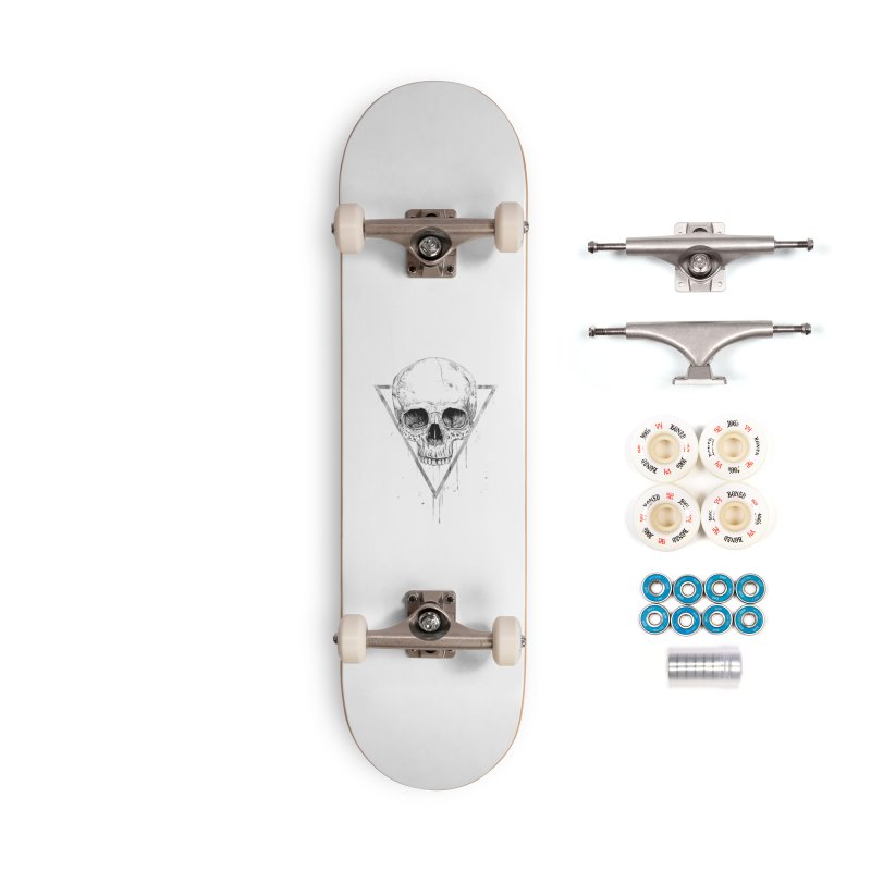 Skull in a triangle (bw) Accessories Complete - Premium Skateboard by Balazs Solti