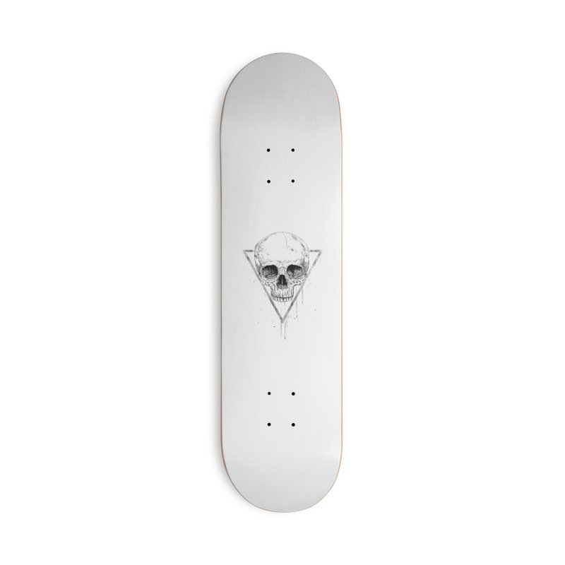 Skull in a triangle (bw) Accessories Deck Only Skateboard by Balazs Solti