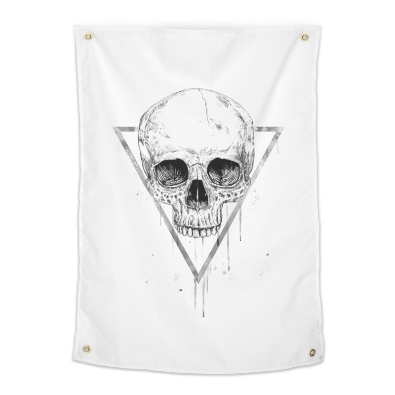 Skull in a triangle (bw) Home Tapestry by Balazs Solti
