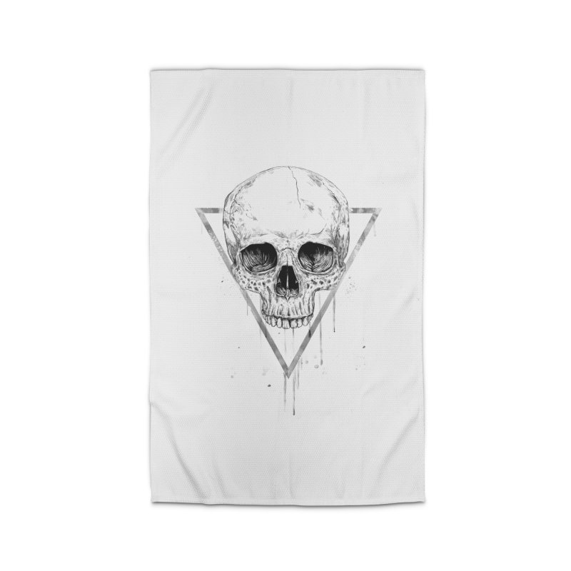 Skull in a triangle (bw) Home Rug by Balazs Solti