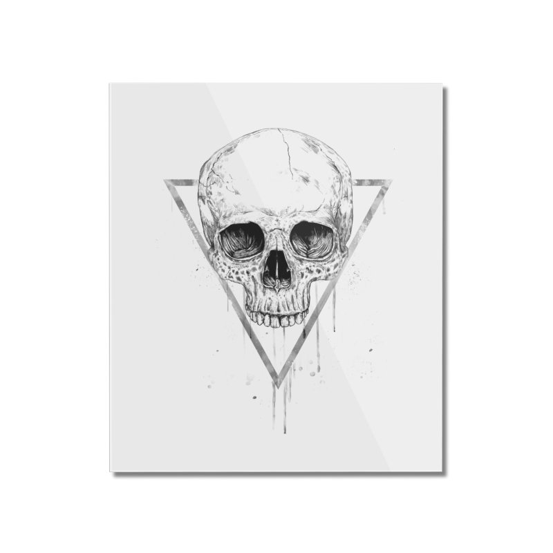 Skull in a triangle (bw) Home Mounted Acrylic Print by Balazs Solti