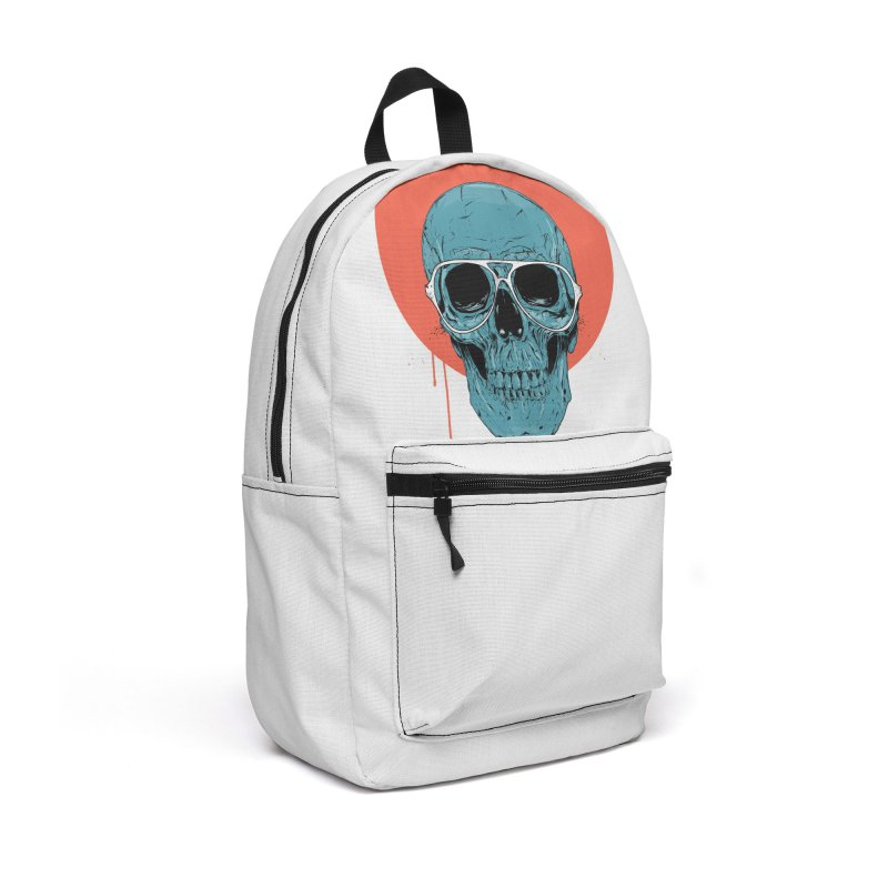 Blue skull Accessories Backpack Bag by Balazs Solti