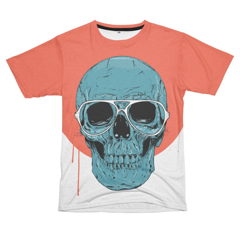 Blue skull Women's Unisex French Terry T-Shirt Cut & Sew by Balazs Solti